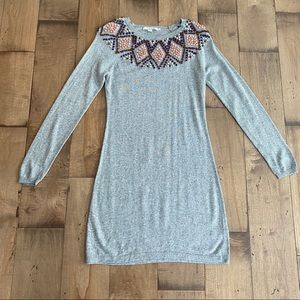 Boden Pom Pom Sweater Dress Grey Cashmere Cotton